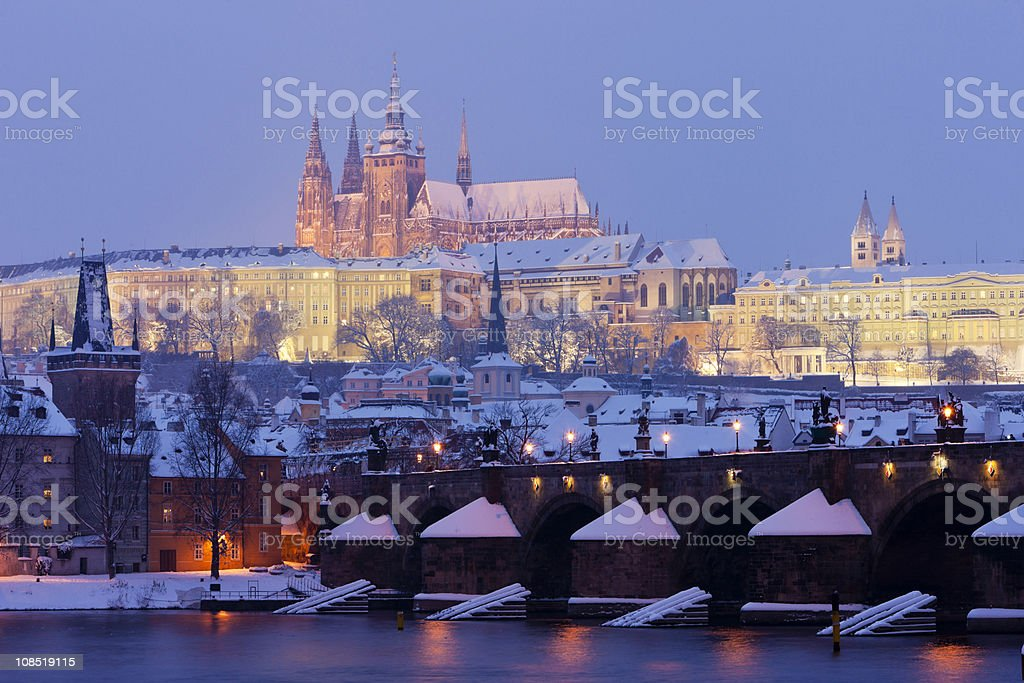 Prague Castle in winter royalty-free stock photo