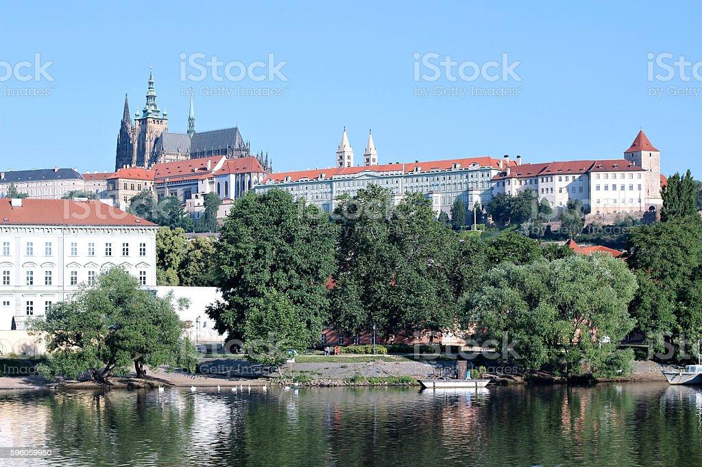 Prague Castle view of the river Vltava stock photo