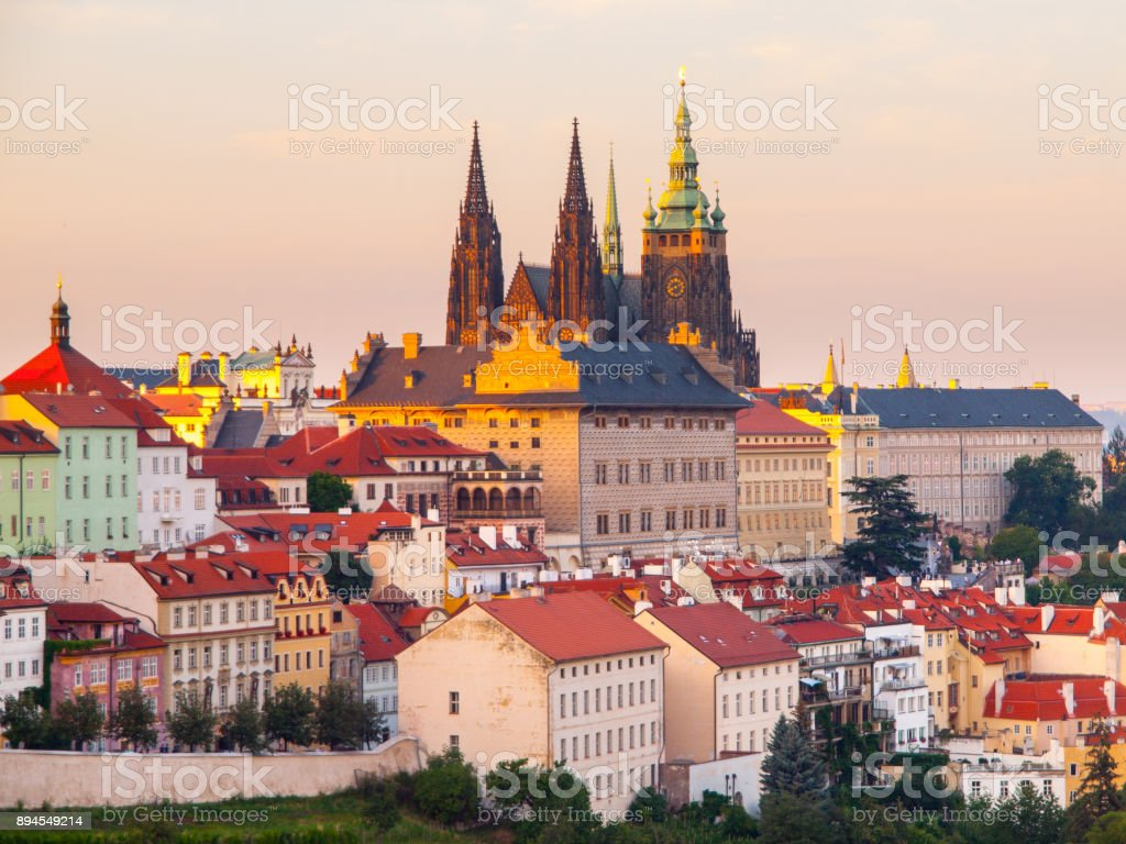Prague Castle with Saint Vitus Cathedral. Evening view from Strahov Monastery gardens, Hradcany, Prague, Czech Republic stock photo