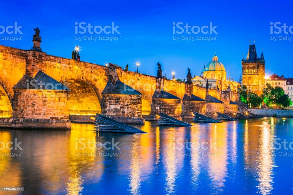 Prague, Charles Bridge and Stare Mesto, Czech Republic royalty-free stock photo