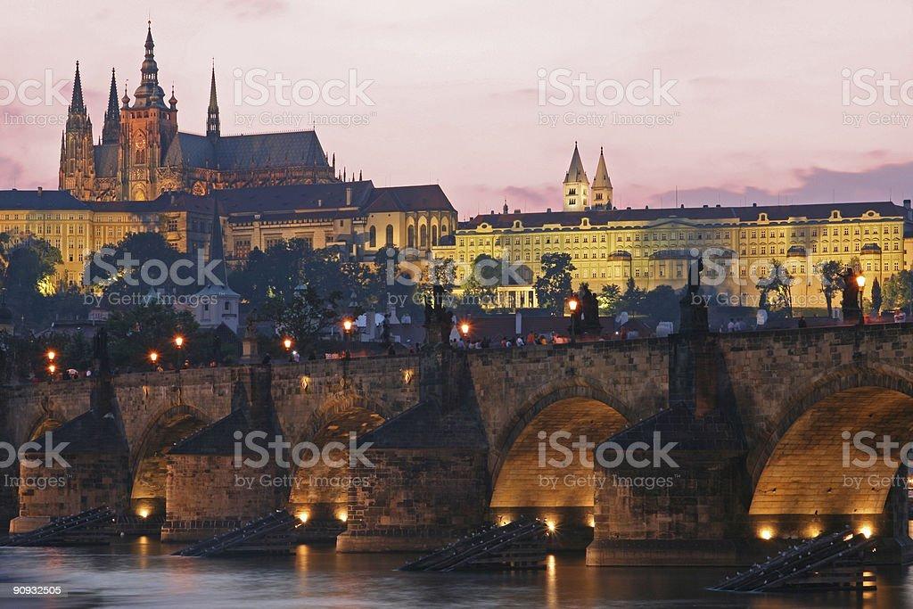 Prague Charles Bridge at sunset royalty-free stock photo