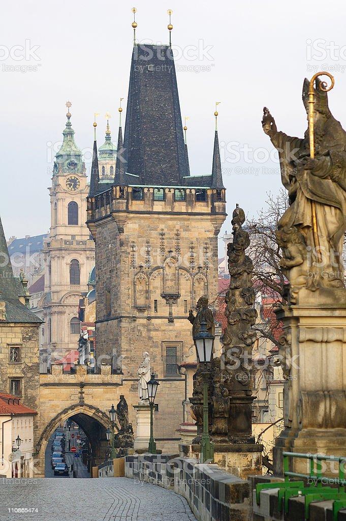 Prague - Charles Bridge in the morning royalty-free stock photo