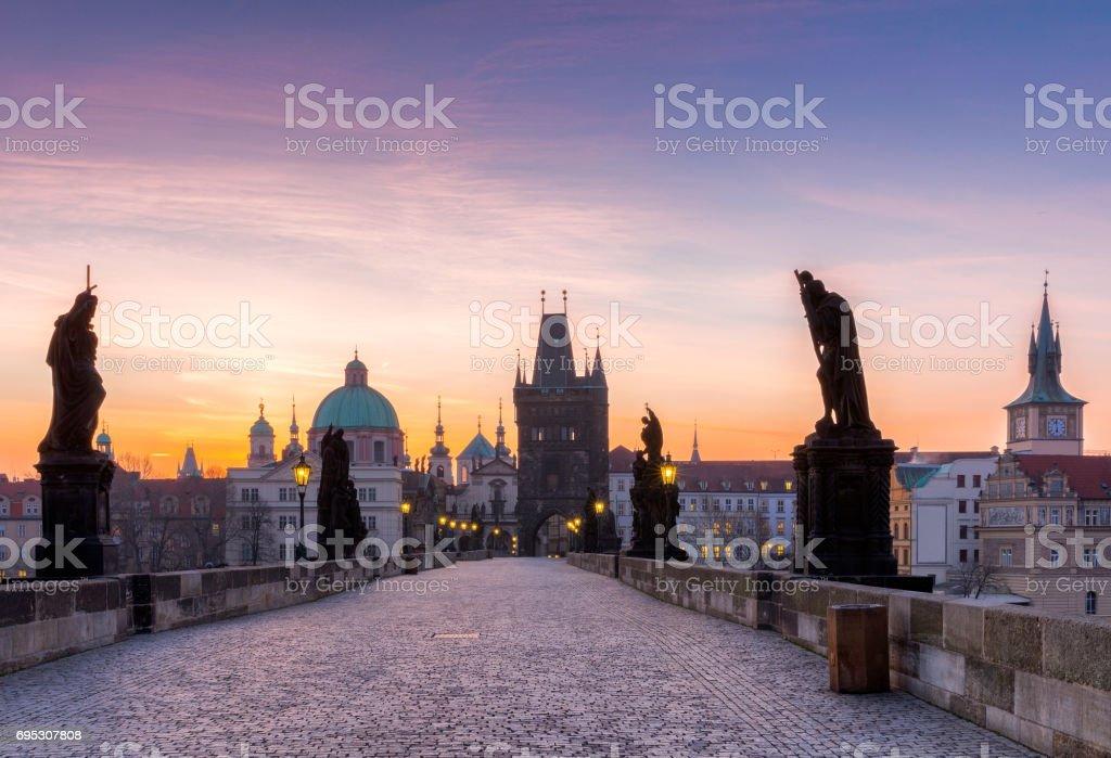Prague, Charles Bridge (Karluv Most) in the morning, the most beautiful bridge in Czechia. Czech Republic stock photo