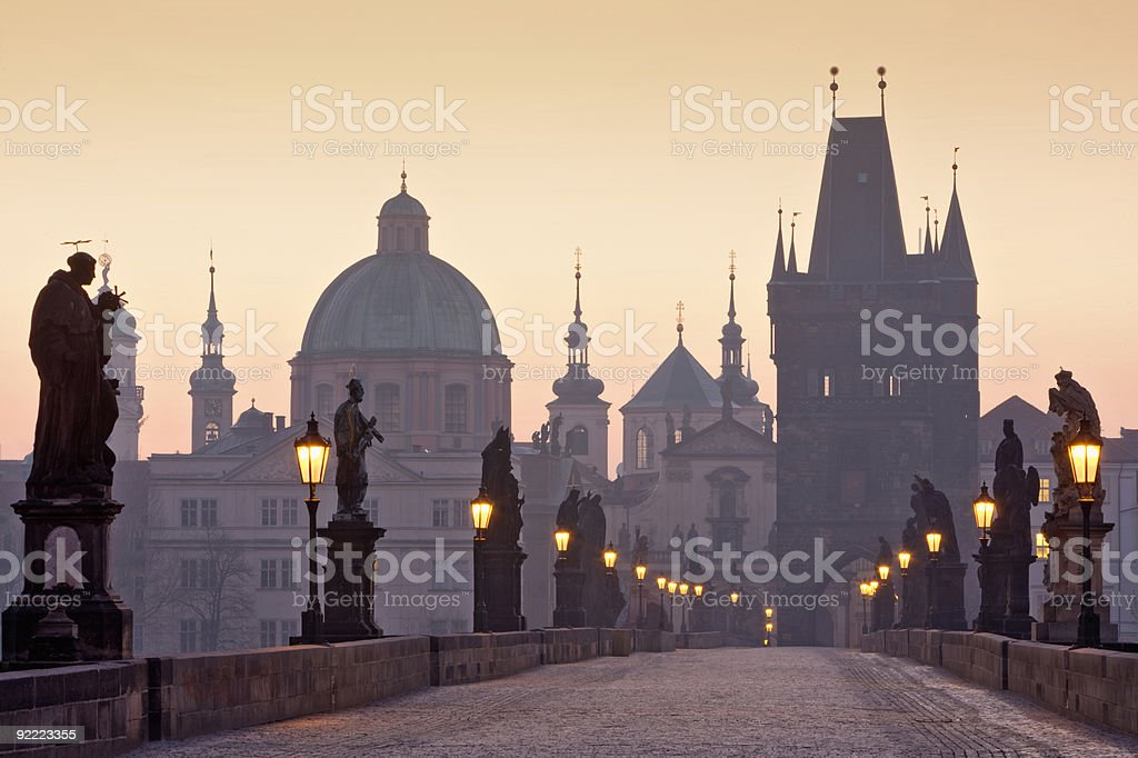 prague charles bridge stock photo