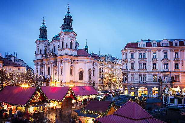 Prague Christmas market on Old Town Square Prague, Czech Republic - January 05, 2013: Prague Christmas market on Old Town Square  tyn church stock pictures, royalty-free photos & images