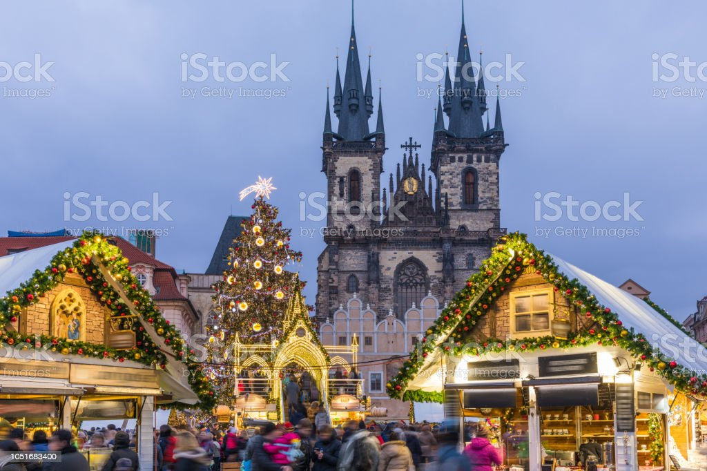 Prague Christmas Market.Prague Christmas Market On The Night In Old Town Square With Blurred People On The Move Prague Czech Republic Stock Photo Download Image Now