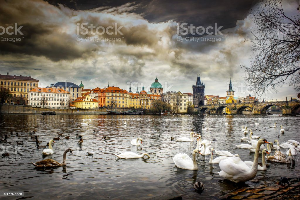 Prague city and harles Bridge landscapes on a beautiful cloudy day stock photo