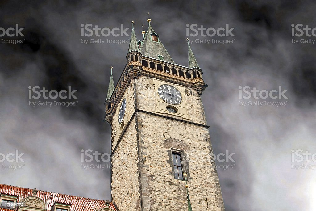 Prague city hall on Old Town square royalty-free stock photo
