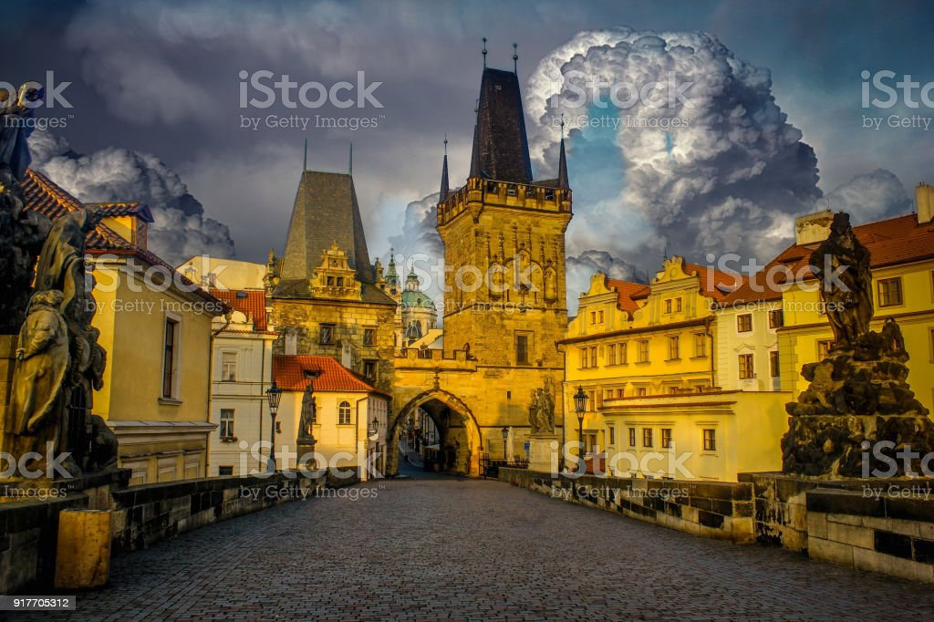 Prague city landscapes on a beautiful cloudy sunrise and starry night stock photo