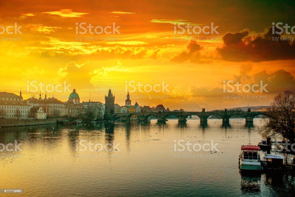 Prague city landscapes on a beautiful cloudy sunrise stock photo