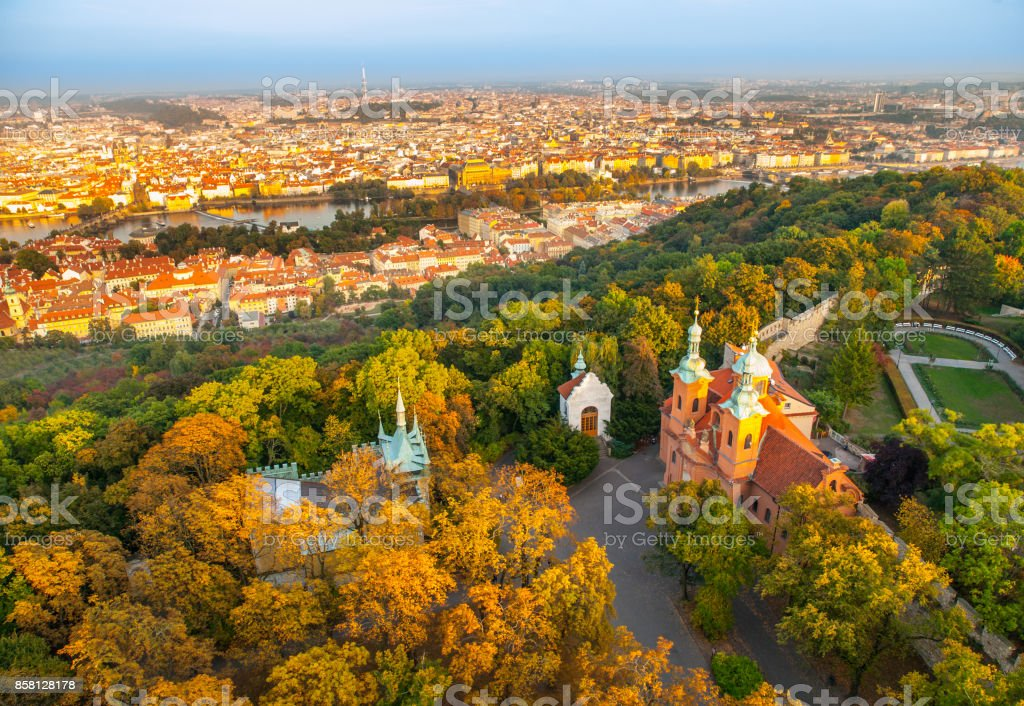 Prague city panorama. Aerial view of Petrin hill park and Vltava river from Petrin lookout tower, Prague, Czech Republic stock photo