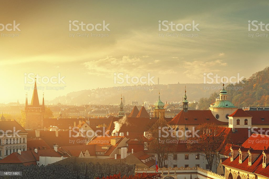 Prague cityscape in the morning royalty-free stock photo