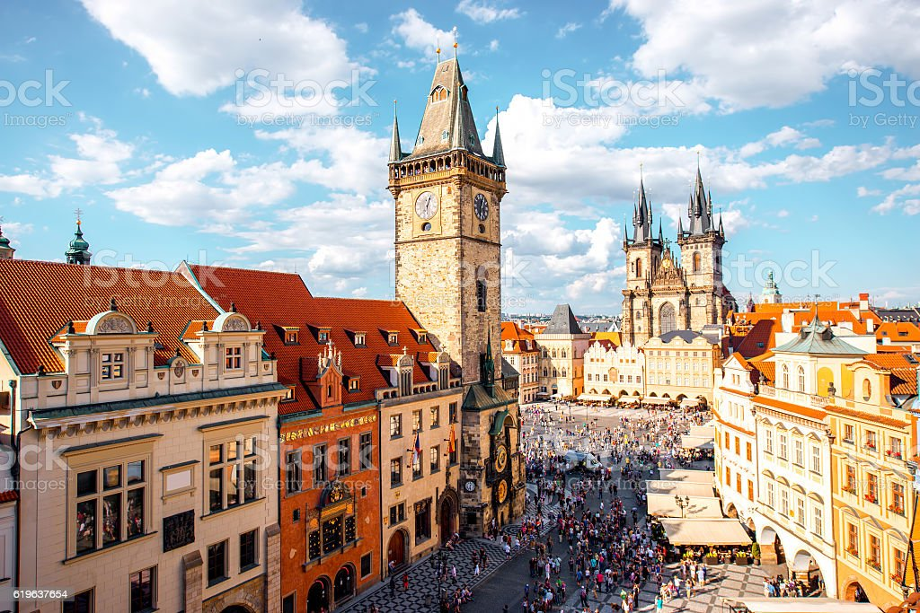 Prague cityscape view stock photo