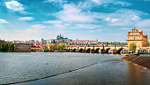 Prague cityscape with Charles bridge, view from Vltava river