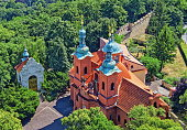 istock Prague, Czech Republic. Cathedral of St. Lawrence on Petrin Hill-view from above 700828394