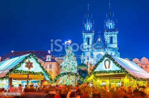 Prague, Czech Republic. Christmas Market in Stare Mesto old square, Tyn Church, Bohemia.