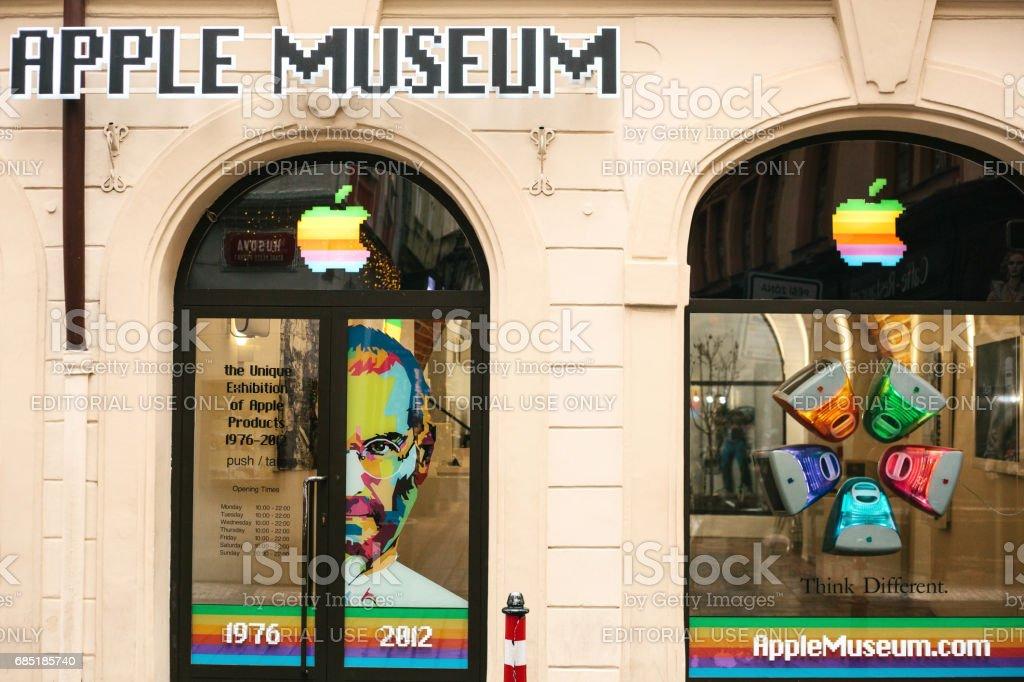 Prague, Czech Republic, December 24, 2016: Apple museum in Prague. Europe. American brand. Name of the company. Score. The museum. stock photo