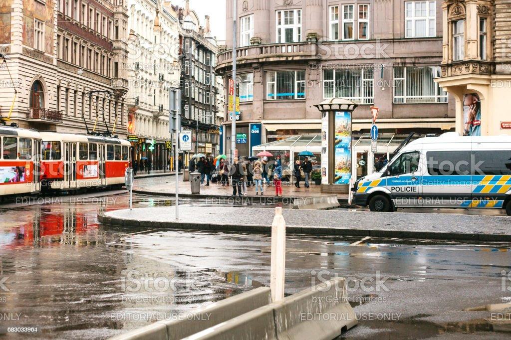 e4b35e97623 Prague République Tchèque 25 Décembre 2016 La Police Dans Les Rues ...