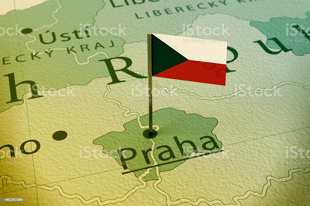 Praga, República Checa Vintage bandera de mapa de Pin - foto de stock