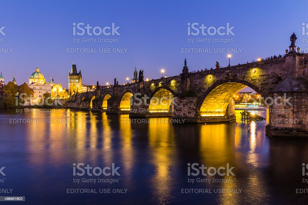 Prague, Czech Republic - November 11th, 2015: Prague, Charles Bridge stock photo