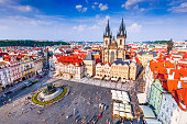 Prague, Czech Republic - Old Town Square of Bohemia city with Tyn Church gothic cathedral (Stare Mesto).