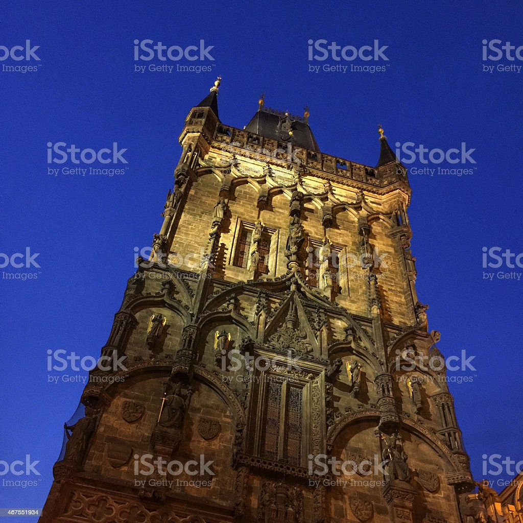 Prague Czech Republic Powder Tower Night View stock photo