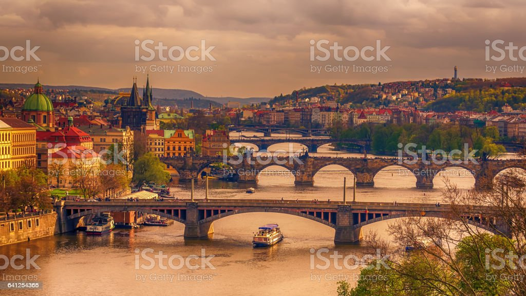Prague, Czech Republic: romantic bridges that crosses Vltava river stock photo