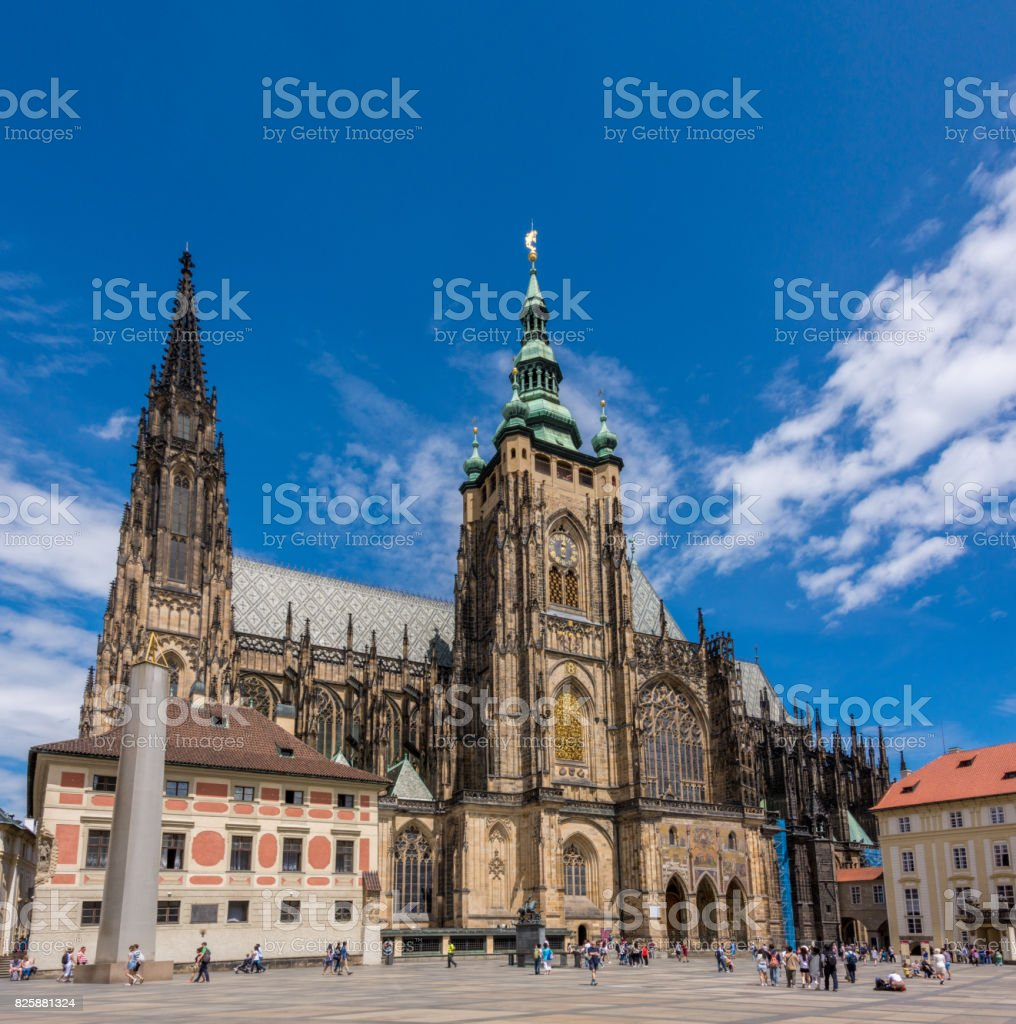 Prague, Czech Republic. St. Vitus Cathedral in Prague Castle, Hradcany stock photo