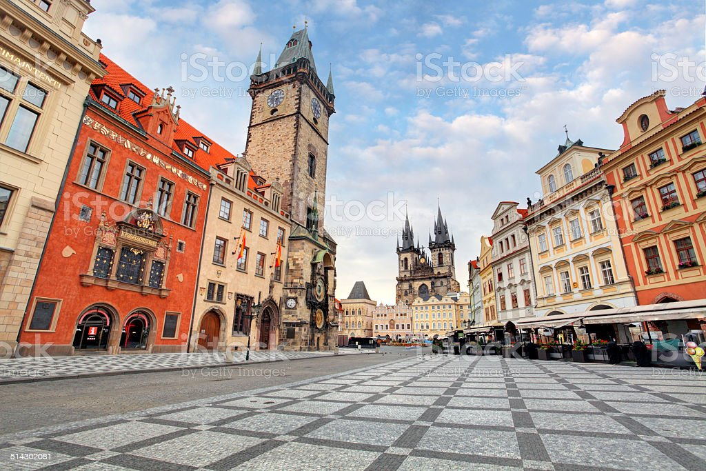 Prague, Czech Republic - view of square and astronomical clock stock photo