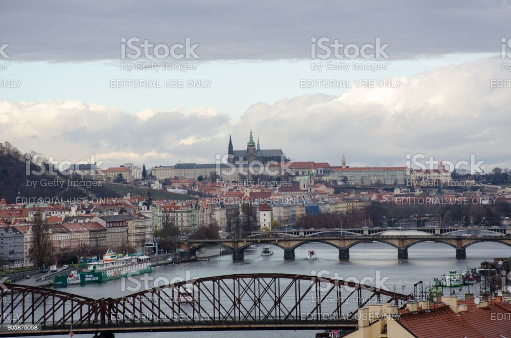 Prague from vysehrad hill stock photo