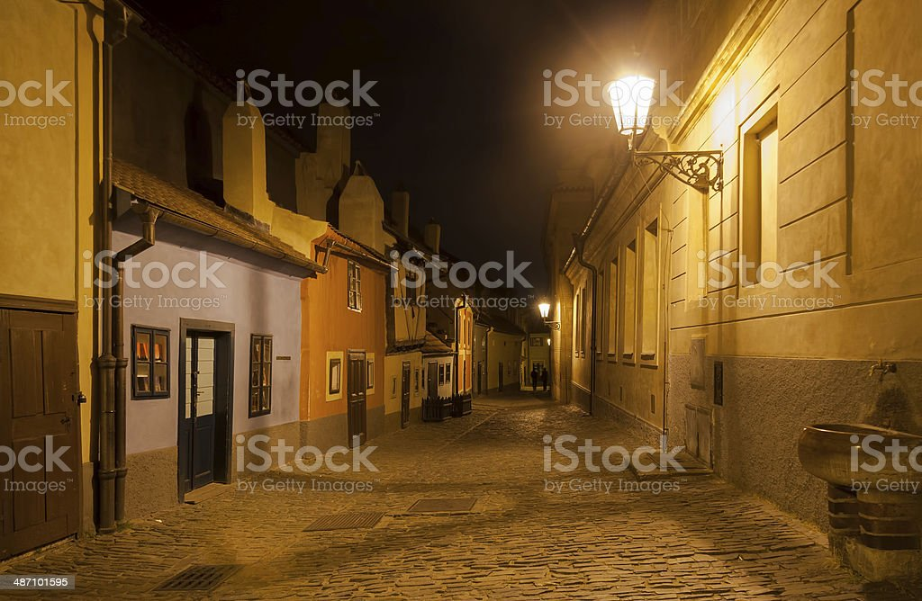 Prague Golden Lane Zlata Ulicka at night with romantic light stock photo