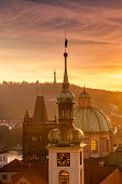 Prague city of spires at sunset
