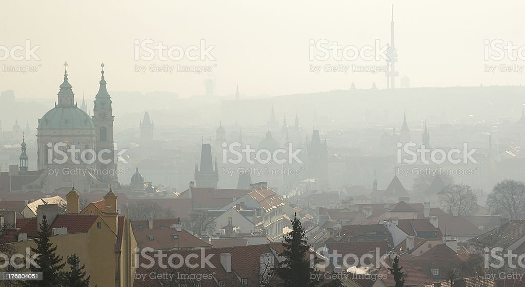 Prague in the morning fog royalty-free stock photo