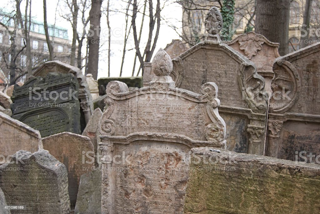 Prague Jewish Cemetary stock photo