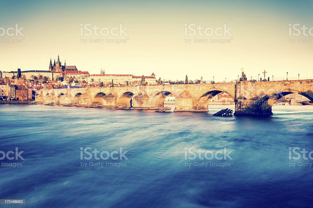 Prague Landmarks: Charles Bridge and the Castle royalty-free stock photo