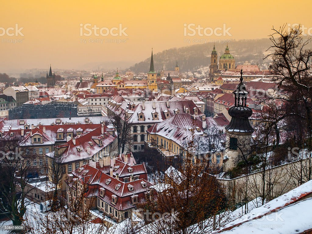 Prague Lesser town in winter time stock photo
