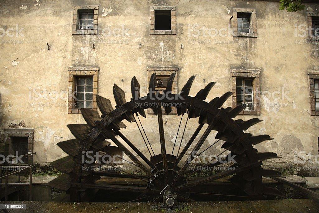 Prague: Mala Strana Water Wheel stock photo