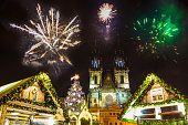 Prague New year's fireworks at 2018 at old town square