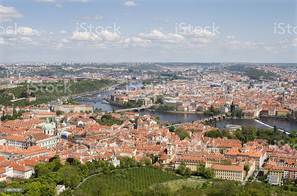 prague - old town from outlook-tower stock photo