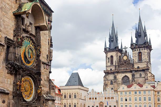 Prague Old Town The Astronomical Clock And The Church Of Our Lady Before Tyn astronomical clock prague stock pictures, royalty-free photos & images