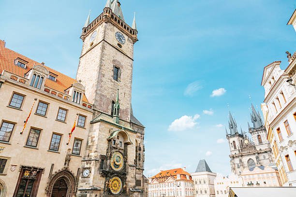 Prague - old town square Prague - old town square.  Church of our lady before Tyn on the right. astronomical clock prague stock pictures, royalty-free photos & images