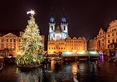 Prague old town square in Christmas decorations at night.
