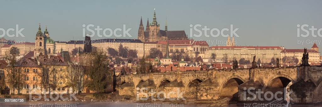 Prague panorama with Charles bridge royalty-free stock photo
