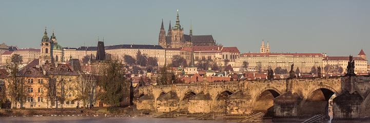 Prague Panorama With Charles Bridge Stock Photo - Download Image Now