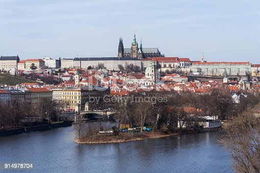 istock Prague panorama with Vltava River, St. Vitus Cathedral, Prague Castle 914978704