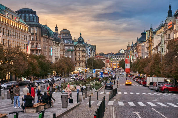 Prague Prague, Czech Republic - September 29, 2019: Crowd on Wenceslas Square in the evening wenceslas square stock pictures, royalty-free photos & images