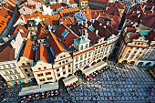 aerial view of the old town of Prague, Czech Republic