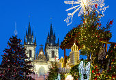 Prague, Czech Republic - December 1, 2012: Night view of the Christmas decorations in the Old City square, with the towers of Our Lady of Tyn church in the background