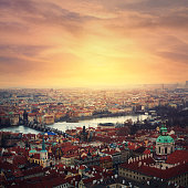 View on Vltava river, Charles bridge and  Saint Nicholas Cathedral in Prague from Hradcany.