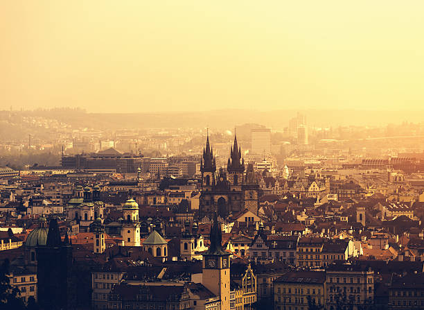 Prague Prague cityscape with Tyn church at sunset. tyn church stock pictures, royalty-free photos & images